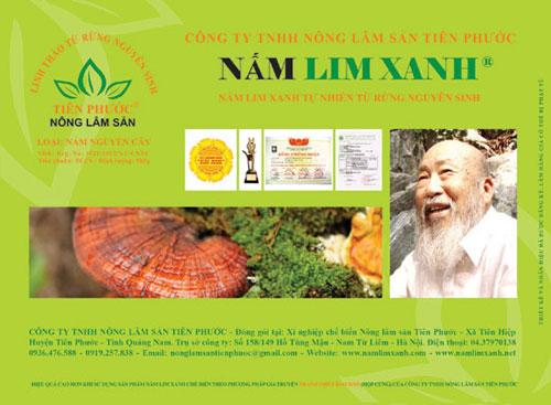 Hộp sản phẩm Nấm lim xanh loại Nguyên cây giá: 1.100.000 Đ/ hộp