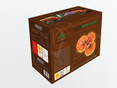 Mẫu hộp sản phẩm nấm lim xanh tự nhiên loại đã thái lát