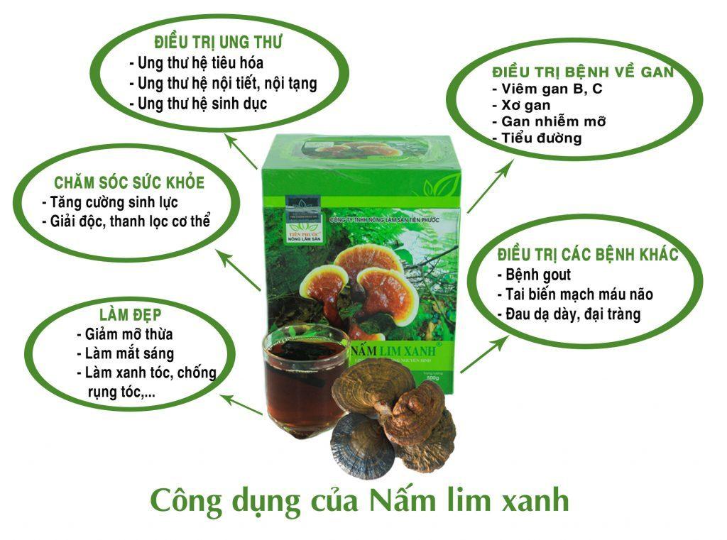 Công dụng của nấm lim xanh rừng đã qua chế biến.