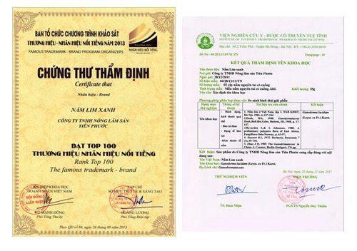 Công ty TNHH nấm lim xanh rừng Tiên Phướcđãđược nhận giải thưởng thương hiệu, nhãn hiệu nổi tiếng 2013 do Cục Sở hữu trí tuệ traotặng.