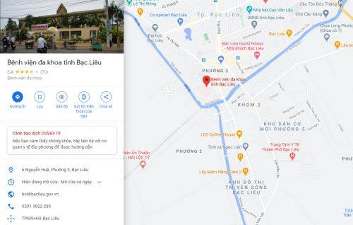 Bản đồ đường đi các tuyến xe bus đến Bệnh viện Đa khoa tỉnh Bạc Liêu
