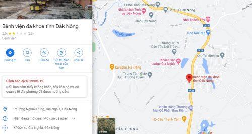 Bản đồ đường đi các tuyến xe bus đến Bệnh viện Đa khoa tỉnh Đắk Nông