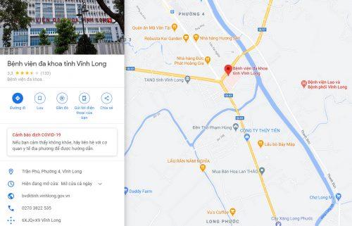 Bản đồ đường đi và các phương tiện đến Bệnh viện Đa khoa tỉnh Vĩnh Long