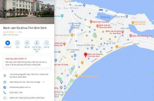 Bản đồ đường đi và các tuyến xe bus đến Bệnh viện Đa khoa tỉnh Bình Định