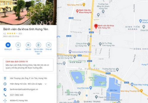 Bản đồ đường đi và các tuyến xe bus đến Bệnh viện Đa khoa tỉnh Hưng Yên